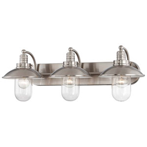 Carlton Brushed Nickel 28-Inch Three-Light Vanity