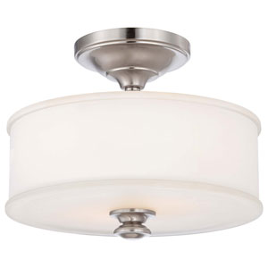 Bridgewater Brushed Nickel Two-Light Drum Semi-Flush Mount