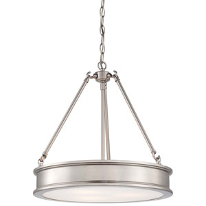 Bridgewater Brushed Nickel Three-Light Drum Pendant