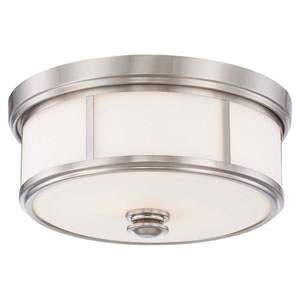Bridgewater Brushed Nickel Two-Light Drum Flush Mount