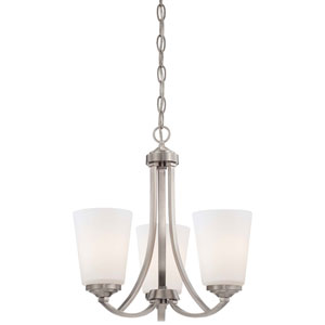 Everly Brushed Nickel Three-Light Chandelier