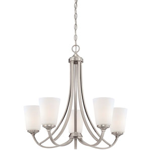 Everly Brushed Nickel Five-Light Chandelier