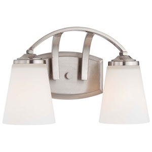 Everly Brushed Nickel Two-Light Vanity