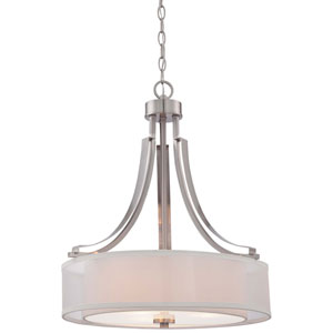 Harrow Brushed Nickel Three-Light Drum Pendant