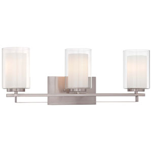 Harrow Brushed Nickel Three-Light Vanity