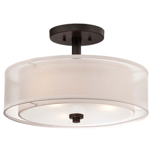 Harrow Bronze Three-Light Drum Semi-Flush Mount