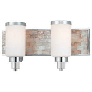 Long Beach Chrome and Natural Shell Two-Light Vanity