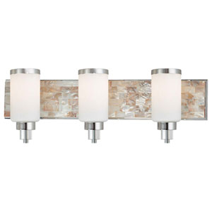 Long Beach Chrome and Natural Shell Three-Light Vanity