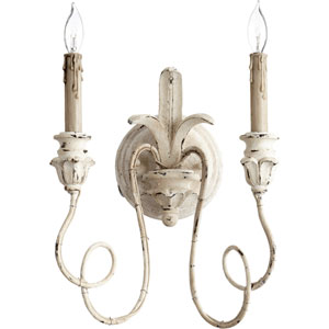 Bouverie French White 14-Inch Two-Light Wall Sconce