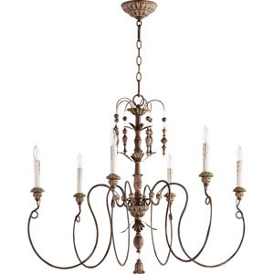 Bouverie Vintage Copper 32-Inch Six-Light Chandelier