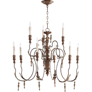 Bouverie Vintage Copper 32-Inch Nine-Light Chandelier