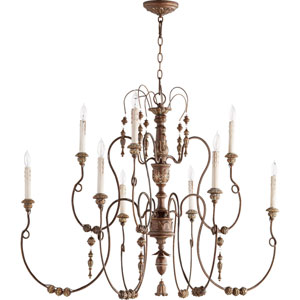 Bouverie Vintage Copper 40-Inch Nine-Light Chandelier