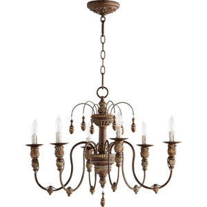 Bouverie Vintage Copper 25-Inch Six-Light Chandelier