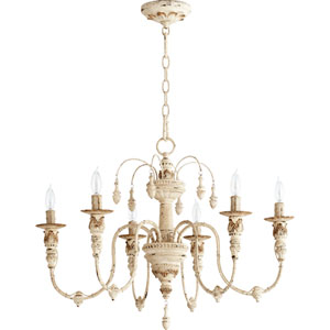 Bouverie French White 25-Inch Six-Light Chandelier