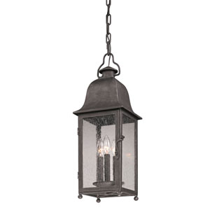 Jefferson Aged Pewter Three-Light Outdoor Lantern Pendant