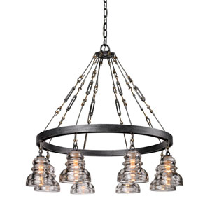 Sullivan Aged Pewter Eight-Light Chandelier