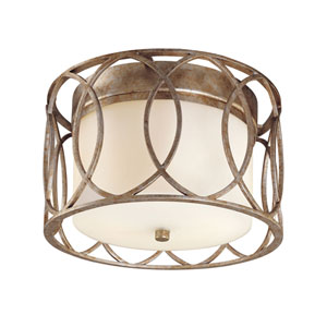 Coco Silver Gold Two-Light Drum Flush Mount