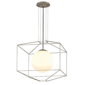 Wooster Silver Leaf 25-Inch One-Light Globe Lantern Pendant