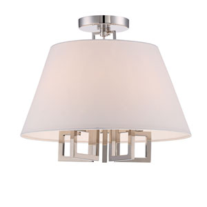 Harper Polished Nickel 16-Inch Five-Light Semi-Flush Mount