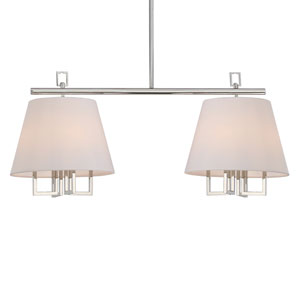 Harper Polished Nickel 42-Inch Eight-Light Island Pendant