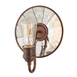 Calverton Bronze One-Light Wall Sconce with Antique Mirror Glass
