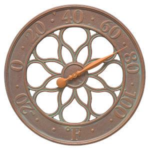 Medallion Copper Verdigris Indoor Outdoor Wall Clock