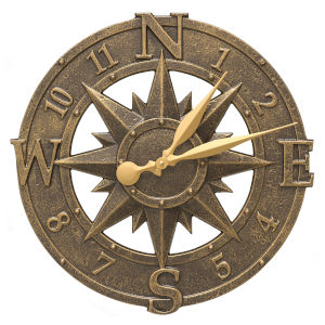 French Bronze 16-Inch  Compass Rose Clock