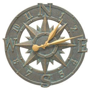 Bronze Verdigris 16-Inch  Compass Rose Clock