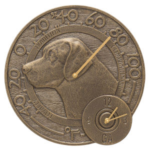 French Bronze Labrador 14-Inch  Indoor Outdoor Wall Thermometer With Clock Combo
