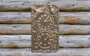 French Bronze Cardinal Combo Clock And Thermometer