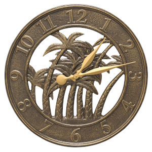 Nautical French Bronze Indoor Outdoor Palm Wall Clock