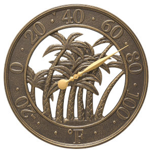 Nautical French Bronze Palm Wall Thermometer