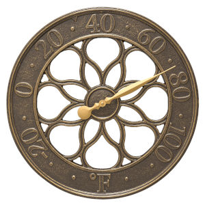 Medallion French Bronze Indoor Outdoor Wall Thermometer