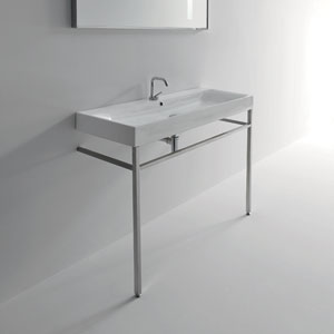 Kerasan White and Matte Nickel Bathroom Sink with One Hole Faucet