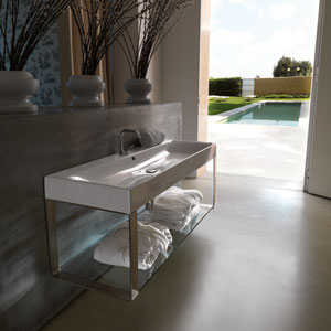 Kerasan White and Polished Chrome Bathroom Sink with One Hole Faucet