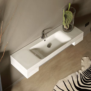 Kerasan White Bathroom Sink with One Hole Faucet