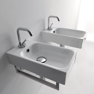 Kerasan White Bathroom Wall Hung Single Sink Only