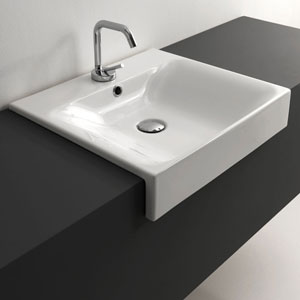 Kerasan White Bathroom Sink With One Hole Faucet Only Width 19 7 Inch