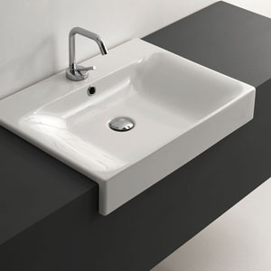 Kerasan White Bathroom Sink with One Hole Faucet - Sink Only, Width 23.6 Inch