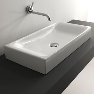 Kerasan White Bathroom Countertop Sink Only
