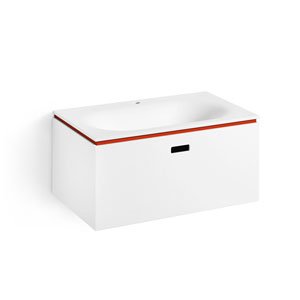 Linea White and Red Bathroom Vanity