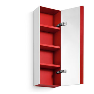 Linea Mirrored Cabinet with Red Interior and Three Shelves