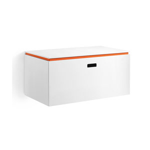Linea Large White and Orange Base Cabinet with One Drawer