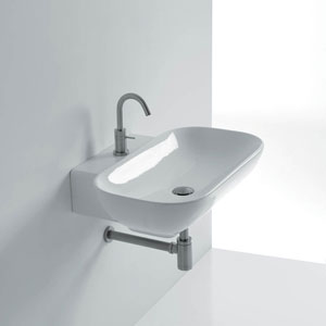 Ciotola Wall Mounted / Vessel Bathroom Sink in Ceramic White