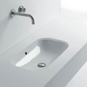 Ciotola Undermounted Bathroom Sink in Ceramic White