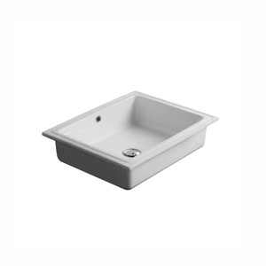 City Rectangular Undermounted Bathroom Sink in Ceramic White