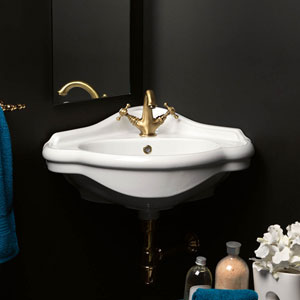 Contea 60 Wall Mounted Corner Bathroom Sink in Ceramic White