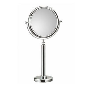 Discolo Polished Chrome Free Standing Telescopic Magnifying Makeup Mirror w/ 3X Magnification