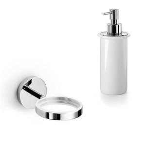 Duemila Chrome Wall Mounted Holder with Ceramic White Soap Dispenser