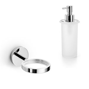 Duemila Chrome Wall Mounted Holder with Frosted Glass Soap Dispenser